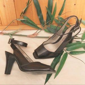 Rampage Brown Patent Leather Peep Toe Heels